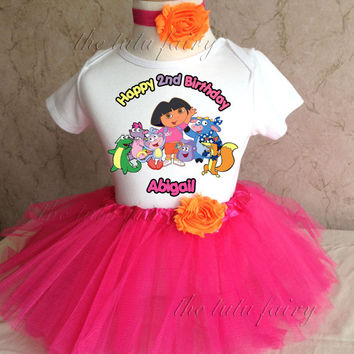 Dora Swiper Boots first 1st 2nd 3rd 4th 5th 6th 7th Birthday Personalized Custom Name Age Shirt & Tutu Set Girl Outfit