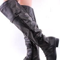 BLACK FAUX CRINKLE LEATHER BUCKLE ACCENT OVER THE KNEE RIDING BOOTS