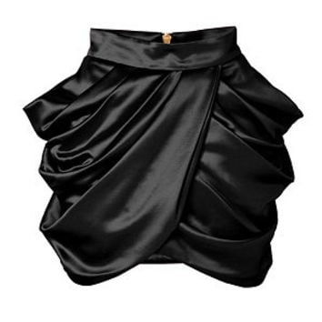 Balmain - Wool-Silk Draped Side Skirt in Black