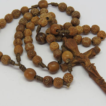 Antique French, Carved Tagua, Corozo, Nut, Rosary