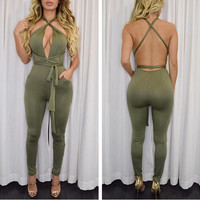 2016 New Fashion Rompers Women Jumpsuit Sexy Backless Two Colors Playsuit Bodysuits Elegant Sleeveless Bandage Jumpsuits XD259