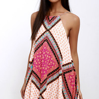 Mink Pink African Trance Orange and Pink Print Dress