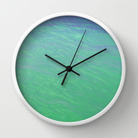 Mermaid Waters - Wall Clock, Sea Foam Green Ocean Water, Hanging Clock Beach Surf Coastal Home Accent. Available in Black / White / Natural