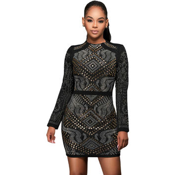 Black Mini Quilted Long Sleeves Dress LAVELIQ