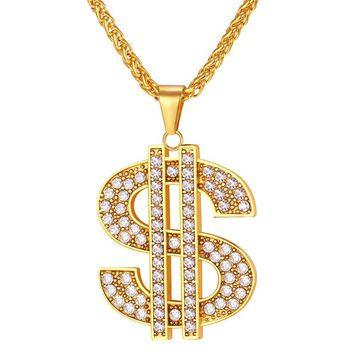 Dollar Necklace Pendan Stainless Steel/Gold