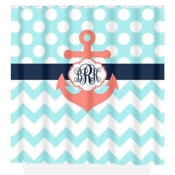 ANCHOR SHOWER CURTAIN Navy Blue Coral Aqua Custom Monogram Personalized Nautical Bathroom Chevron Polka Dot Decor Beach Towel Plush Bath Mat