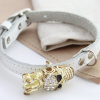 Leather dog collar Skull dog collar Cat Puppy Skull brooch removable collar small dogs collars Leather collars Different Sizes XS S M