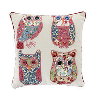 Pink patchwork owls scatter cushion at debenhams.com