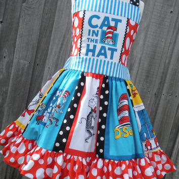Ready to Ship Custom Boutique Cat in Hat Dr Seuss Dress 7 8