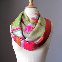 Multicolored infinity scarf, pashmina infinity scarf, Christmas scarf, bright  scarf, chunky scarf, handmade scarf