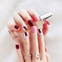 24pcs/set Summer Animal Pattern False Nail Art With Jelly Glue Xmas Style Artificial Finished Fake Nails Design Manicure Tool