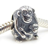 "Pro Jewelry .925 Sterling Silver ""Mother Monkey Hugging Baby"" Charm Bead for Snake Chain Charm Bracelet 4275"