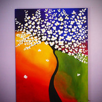 Tree Painting, Large Wall Art, 3D Art, Large Canvas Art, Painting on Canvas
