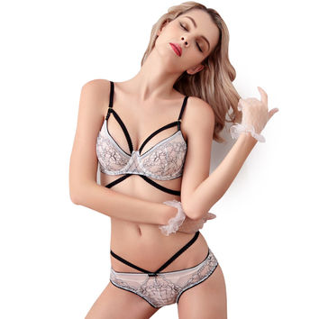 Sexy Lace Push Up Bra Set For Women Intimate ABC Large Size Bra Brief Sets Embroidery Flounced Noble Underwear Set