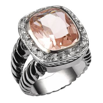 Morganite 925 Sterling Silver High Quality Ring For Men and Women