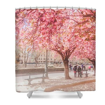Paris in Pink Blooms April in Paris Notre Dame Polyester Fabric Shower Curtain