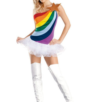 Rainbow-colored clothing American Cheerleader Girl dress stage costumes Students  parade dance clothes