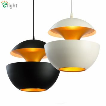 Nordic Designer Apple E27 Foyer Led Pendant Light Creative Paint Metal Pendant Lamp White&Black Round Bedroom Led Hanging Light