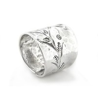 Flower Sprig Etched Hammered Finish Adjustable Thumb Ring Sterling Silver(Sizes 5,6,7,8,9,10,11)