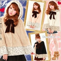 Rakuten: Princess  velor ribbon leopard print fur poncho- Shopping Japanese products from Japan