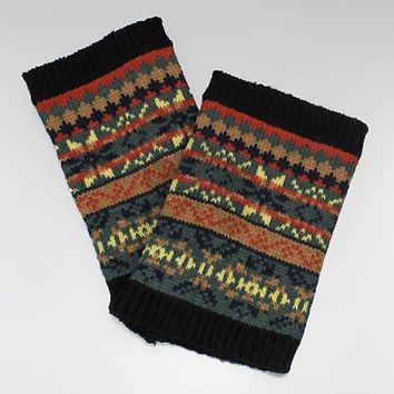 Nordic Pattern Knit Acrylic Boot Cuffs