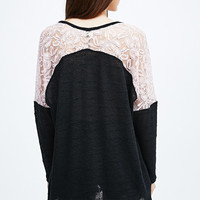 Pins & Needles Lace Slouch Jumper in Black and Pink - Urban Outfitters