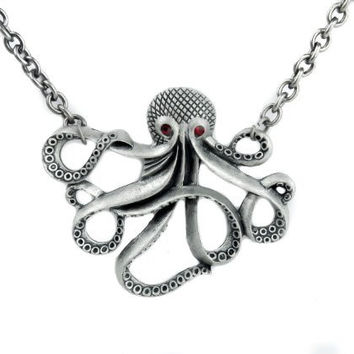 Octopus Red Eye Necklace Cthulhu Pirate Sea Serpent Pendant
