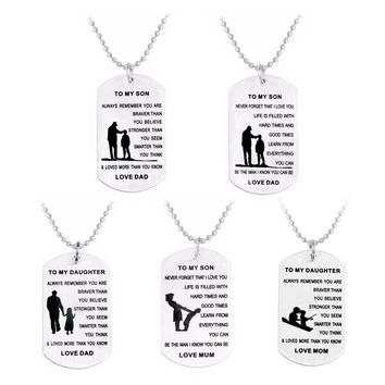 To my Son and Daughter Please Remember that you are Brave and Smarter We are Loving you Label pendant Necklace Family jewelry