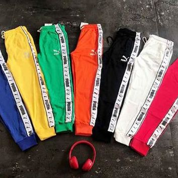 PUMA Fashion Women Men Colorful Long Pants Side Edge Logo Print Trouser