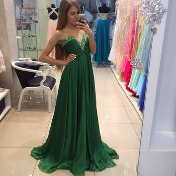 Dark green Chiffon Bridesmaid dresses A line Sweetheart Backless Cheap Beads Empire Maternity Women Party dress for Pregnant hu