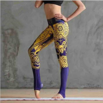 """LULU LEMON"" Printing yoga pants breathable quick-drying tight pants Purple-golden"