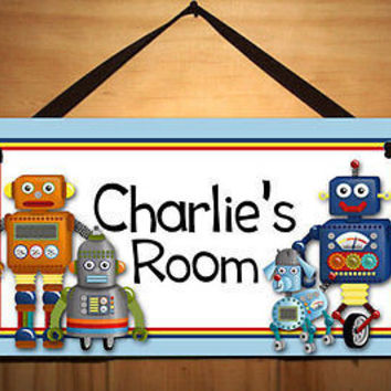 Kids Door Sign I am a Robot Boys Bedroom Nursery Personalized Name Sign DS0104