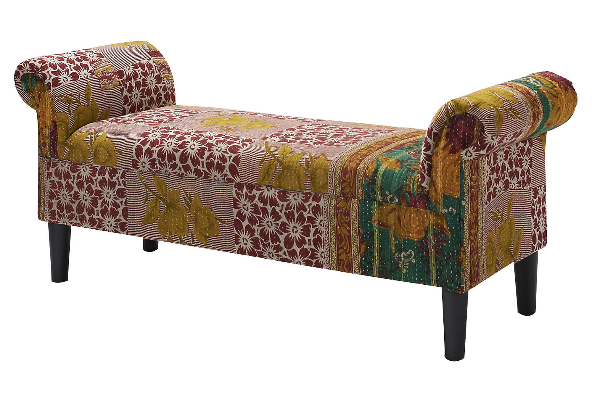 kantha roll arm bench red cream bedroom from one kings lane