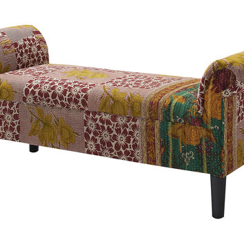 Kantha Roll-Arm Bench, Red/Cream, Entryway Bench