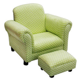 Komfy Kings, Inc 11220 Deluxe Green Dots Tween Chair and Ottoman