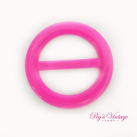 Retro Hot Neon Pink Plastic Belt Buckle, Round Vintage Slide Buckle