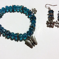 Butterfly Jewelry Set, Bright blue, Gifts for her, Beaded bracelets, charm bracelets, butterfly charms, spring jewelry, summer jewelry, 9fm