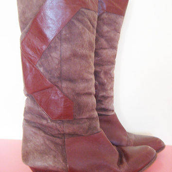 Vintage suede genuine leather brown knee high boots hippie bohemian hippie cowboy size 8.5 M
