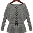 Long Batwing Sleeve Lace-up Sweaters