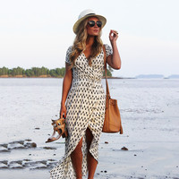 Women's Fashion Beach Summer Stylish V-neck Geometric Pattern Irregular One Piece Dress [9908201741]