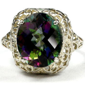 SR009, 6ct Mystic Fire Topaz set in a Sterling SIlver Antique Style Ring