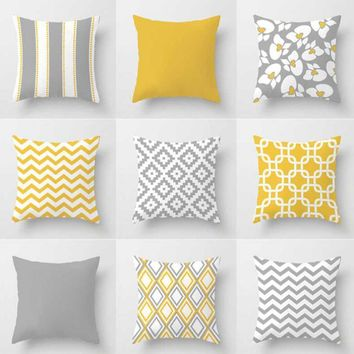 Nordic Style Yellow Gray Pillow Modern Minimalist Geometric Stripes Rhombus Abstract Art Cushion Home Decor For Office Chair