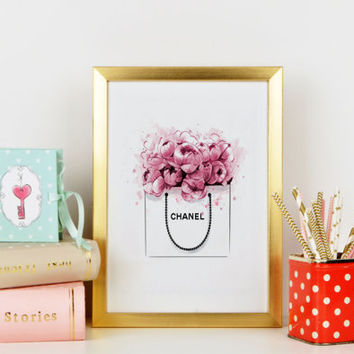 INSTANT DOWNLOAD Chanel Print Peonies Bag Watercolor artwork Fashion Illustration Modern Home Décor Fashionista Chanel Bag  Coco Chanel