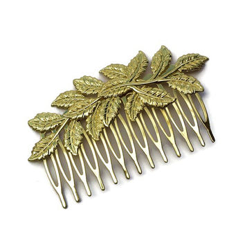 Gold Leaf Hair Comb, Gold Hair Pin, Gold Hair Comb, Leaf Hair Clip, Gold Hair Accessories, Wedding Hair Clip, Bridesmaids Gifts