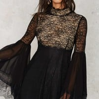 Nasty Gal Hi-Neck Software Lace Dress