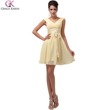 Grace Karin Yellow Chiffon Short Bridesmaid Dresses 2017 V Neck Bow Knot Knee Length A-line Cheap Party Prom Dress Under 50