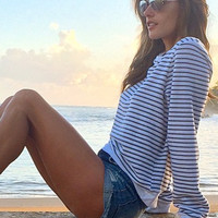Wildfox Couture Essentials V-Neck Baggy Beach Jumper in Oxford Stripes