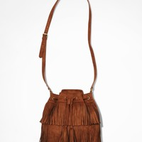 FRINGED DRAWSTRING BUCKET BAG