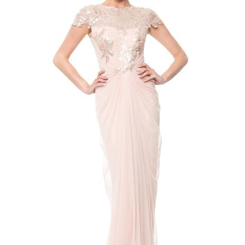 PAILLETTE LACE AND TULLE GOWN IN PRIMROSE