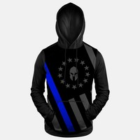 US Flag 13 Stars Betsy Rose Thin Blue Line Hoodie (Ships in 2 Weeks)